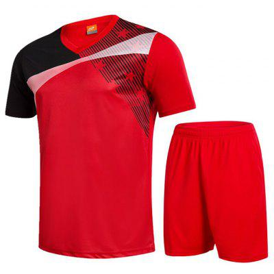 Men Breathable Sports T-shirt Set Short Sleeve Quick Dry