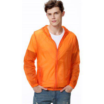 Men Summer Hooded Sun Protection Clothing Breathable Solid Color