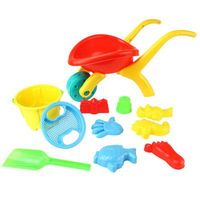 Beach Trolley Toy Tool Bucket Sand Pool Kit