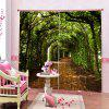 3D Home Bedroom Forest Curtain - FERN GREEN