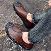 Men's Leather Hand-stitched Casual Shoes - BLOOD RED