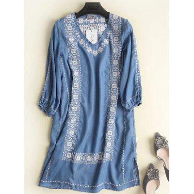 Women's Embroidered V-neck Cotton Dress Loose Fit