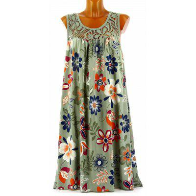 Women's Sleeveless Round Neck Lace Print Vest Dress Hollow Out