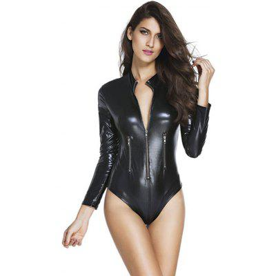 LC3259 Black Leather Long Sleeve Zip Detail Bodysuit