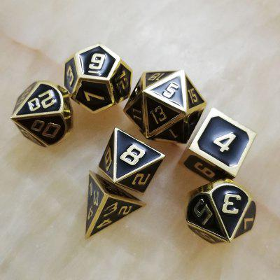 Black Solid Gold Edge Multi-faced Metal Dice 7PCS
