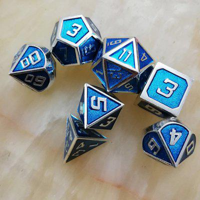 Borda de ouro azul sólido Metal Dice 7PCS