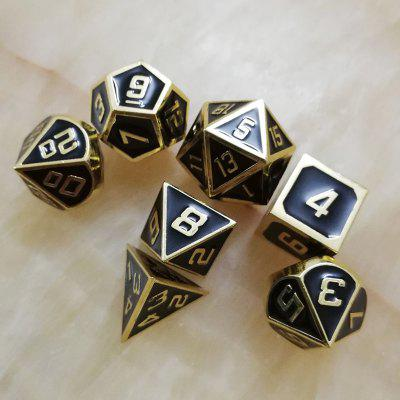 Dados de Metal Black Solid Gold Edge 7 PCS