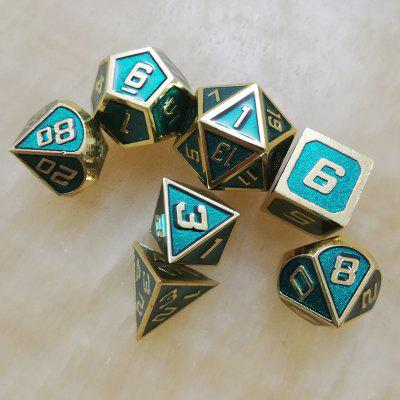 Gold Edge Deep Green Metal Sólido Dice 7 PCS