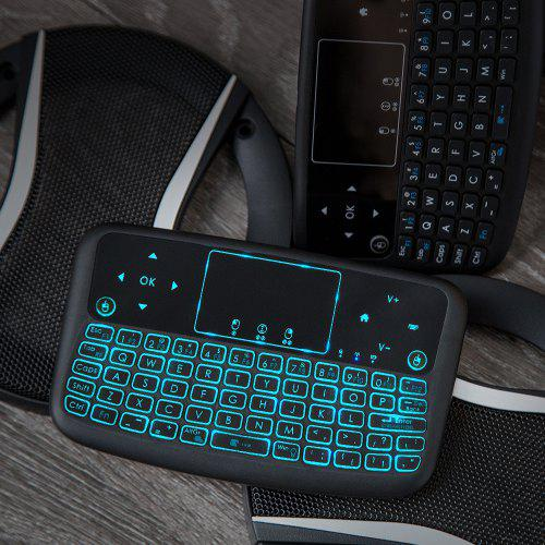 Gearbest Alfawise A9 New Touch 2.4GHz Wireless Keyboard Flying Mouse - Multi colorful backlight Touch / Wireless Keyboard + Touchpad + Mouse + Multimedia / 2.4GHz Wireless / 100% Plug and Play