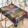 Vintage Color Wooden Board Flower Printed Polyester Waterproof Tablecloth - MULTI-A