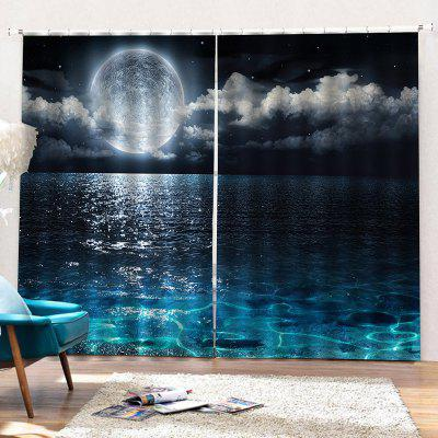 Sea Moon Starry Sky Home Bedroom Decorative Curtain