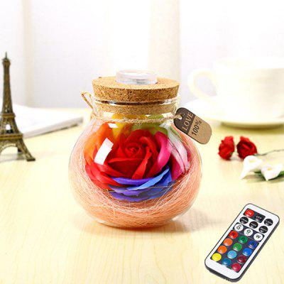 Color Change Eternal Rose Soap Flower Luminous Bottle Decorative Light