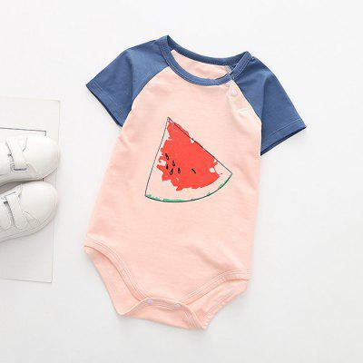 Baby Cotton Fruit Print Triangle Short Sleeve Romper
