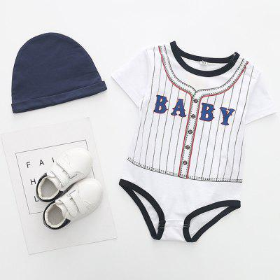 Baby Boys Baseball Style Triangle Romper with Hat