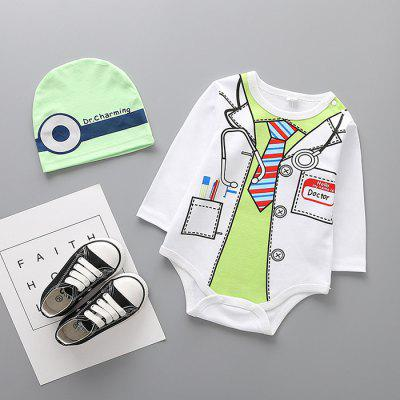 Baby Cotton Cute Print Triangle Romper with Hat