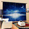 Moon Stars Home Bedroom Curtain - BLUEBERRY BLUE