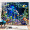 3D Underwater World Home Bedroom Curtain - BLUEBERRY BLUE