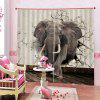 3D Elephant Home Bedroom Curtain - MULTI-A