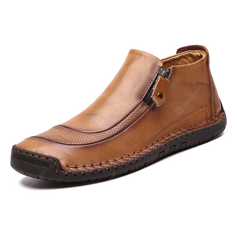 Men's Large Size Second Floor Cow Skin Solid Color Shoes Durable