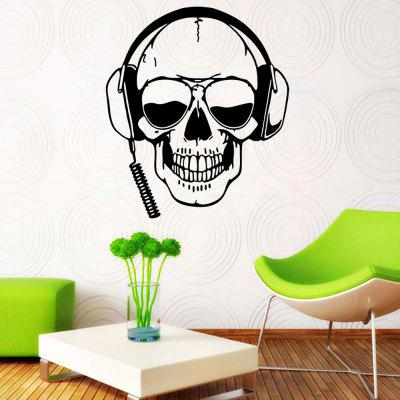 MU4461 Kreativní osobnost Skull Headphone Wall Sticker