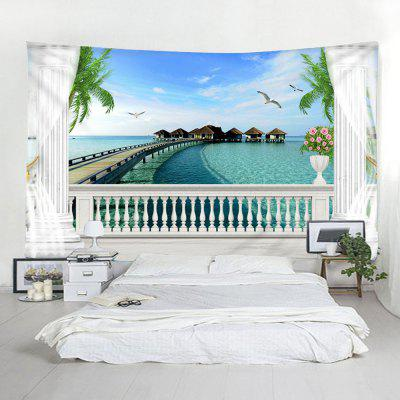 Window Sill Sea View 3D Printed Seaside Tapestry