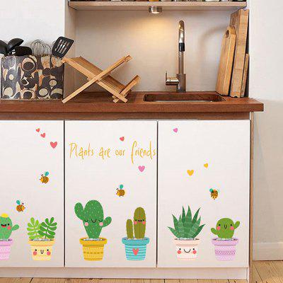 SK6023 Fresh Style Plant Pot Wall Sticker
