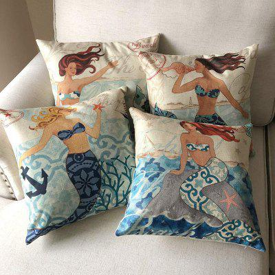 Mermaid Home Pillowcase Car Cushion Cover 4PCS