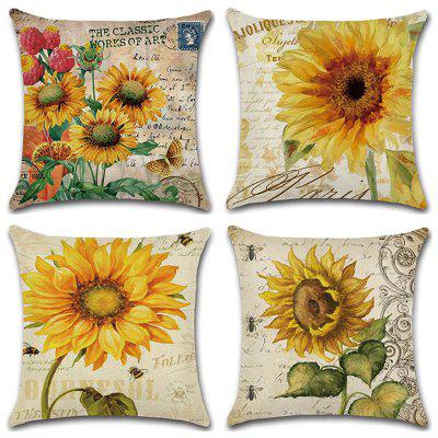 Sunflower Series Hand ppainted Pillowcase Cushion Cover 4pcs