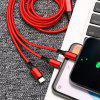 3-in-1 Nylon Data Cable with Type-C / Micro USB / 8 Pin - RED