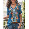 Ladies V-neck Embroidered Blouse Cuffs Hollow Out - SILK BLUE