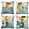 Mermaid Home Pillowcase Car Cushion Cover 4PCS - MULTI-A