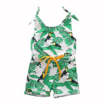 1304 Girls Polyester Leaf Print Tether Strap Romper