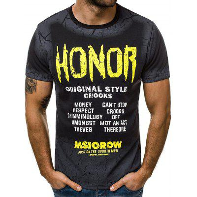 Men's T-shirt Fashion Crew Neck Gradient Letter Print Short Sleeve