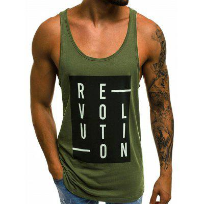 Men's Vest Letter Print Round Neck Sleeveless