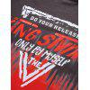 Men's T-shirt Round Neck Stitching Gradient Letter Print Short Sleeve - RED