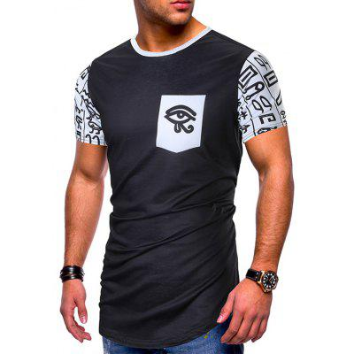 Men's T-shirt Short-sleeved Ethnic Style Stitching Print