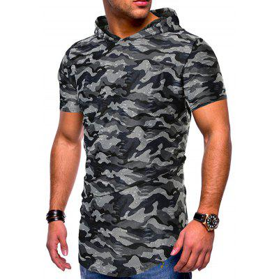 Men's T-shirt Camouflage Pattern Small Hole Hooded