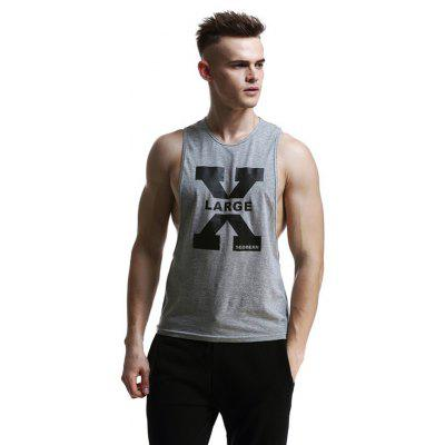 Men's Vest Letter Print Sleeveless Round Neck