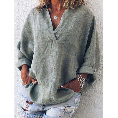 Women's V-neck Long-sleeved Loose T-shirt Solid Color