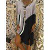 Women's Plunging Neck Striped Stitching Dress Loose Fit - GRAY CLOUD