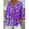 Ladies Abstract Printed V-neck T-shirt Nine Minutes Sleeve - PURPLE AMETHYST