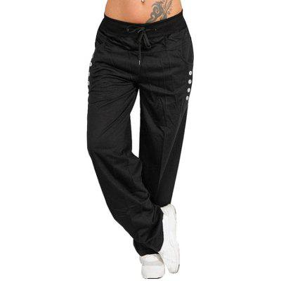 Women's Outdoor Casual Straight Loose Sports Pants Waist Lace-up