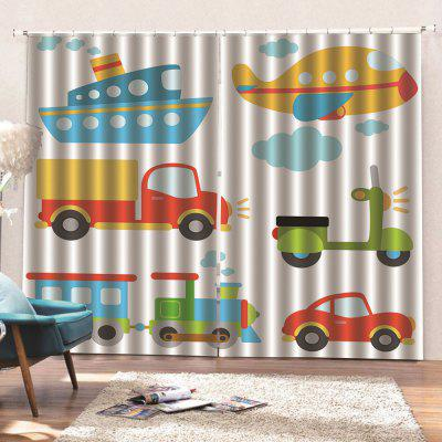 Cartoon Digital Printing Waterproof General Curtain 2pcs