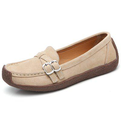 Women's Suede Comfortable Flat Casual Shoes Anti-collision Toe