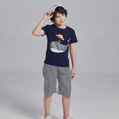 9033 Boy Cartoon Whale Print T-shirt Striped Five Pants Set