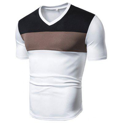 Men's T-shirt Stitching V-neck Casual