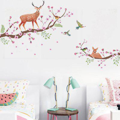JM7357 Branch Sika Deer Removable Wall Sticker