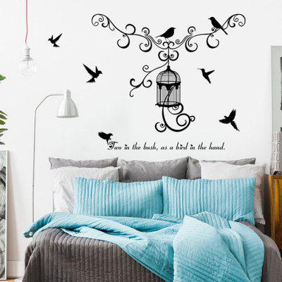 SK7055 Creative Birdcage TV Background Decoration Wall Sticker