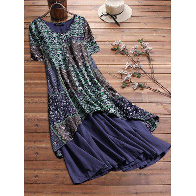 Women's Dress Print Stitching Fashion Loose