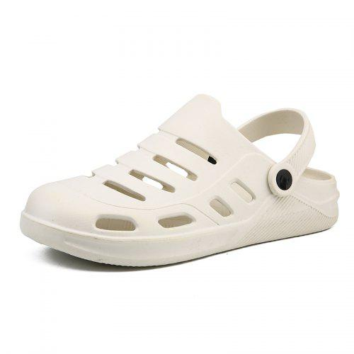 personality Men/'s Leather sandals Hole  casual lazy Loafer Shoes slipper White